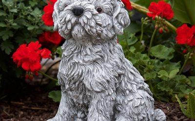 Statue chien Shi-Tzu en pierre pour le jardin
