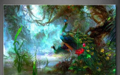 Peinture de deux Paons dans la forêt