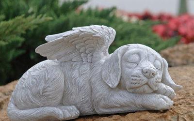 Statue chien ange pour jardin – Pierre tombale