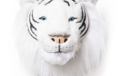 Trophée d'une tête de tigre blanc en peluche