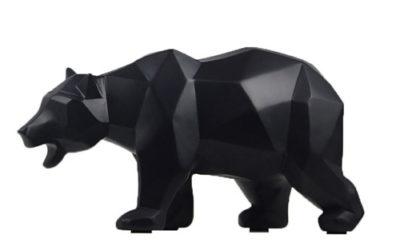 Statue d'ours polaire noir design et classe