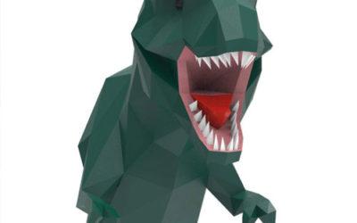 Trophée d'un T Rex en origami -Déco DIY
